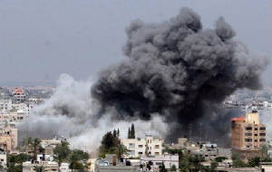 Israeli bombs fall on Gaza